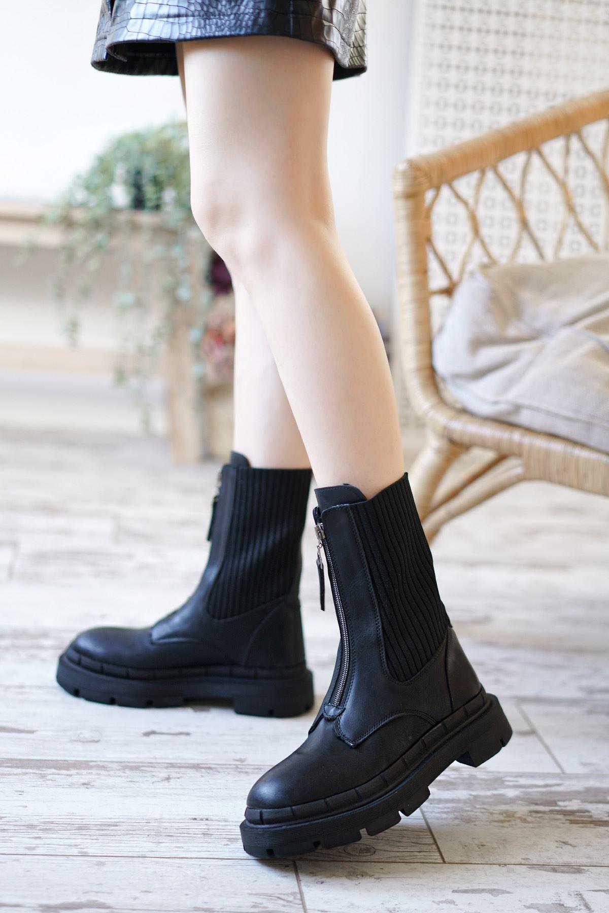 Jovi siyah Mat Deri Streç Çorap Önden Fermuarlı Kadın Bot
