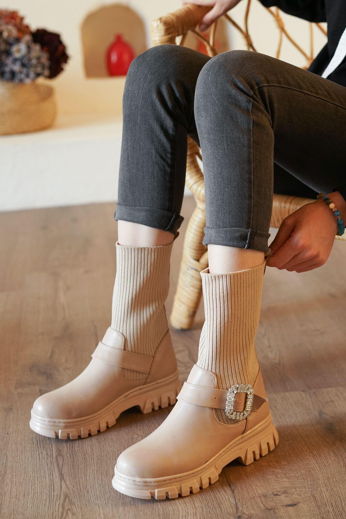 Sarah Nude Mat Deri Çorap Kadın Bot