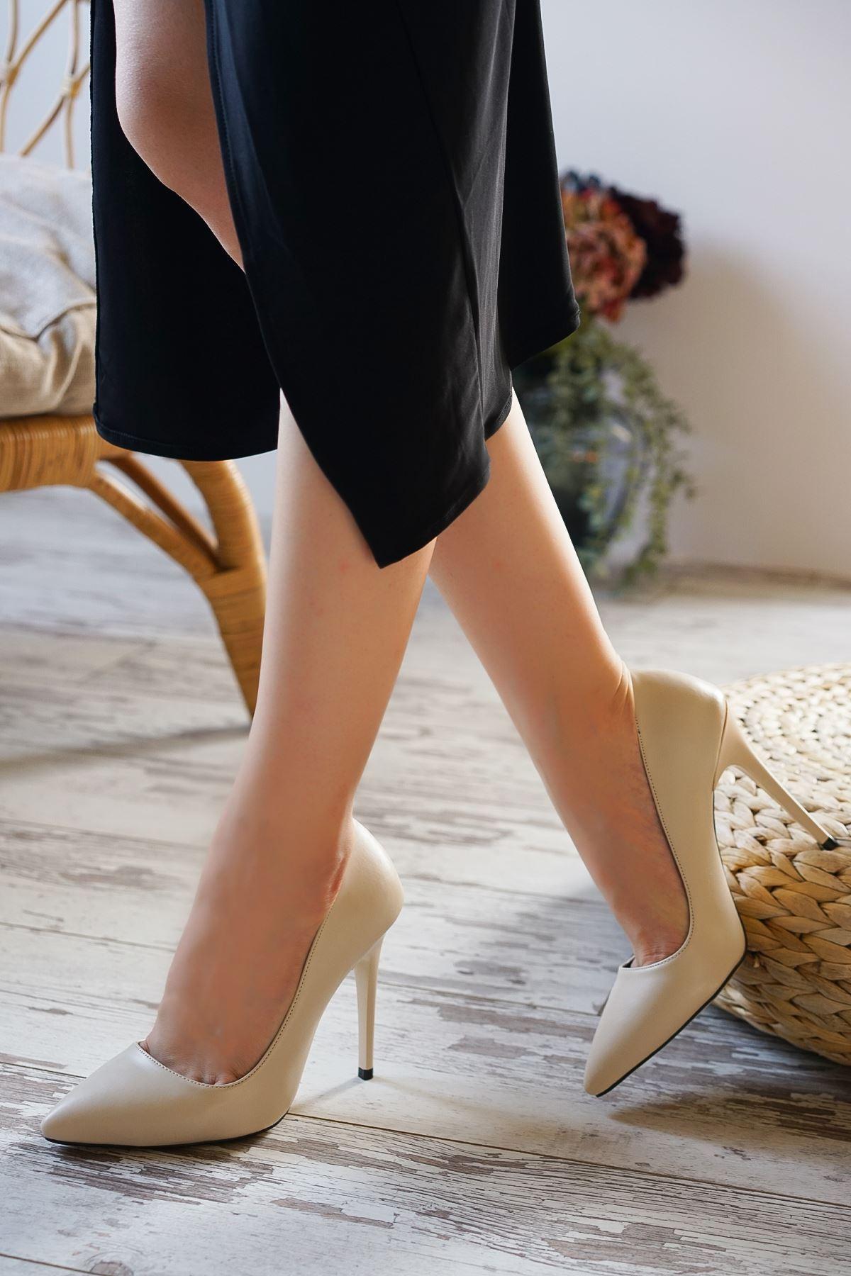 Ottone Bej Mat Deri Kadın Yüksek Topuklu Ayakkabı