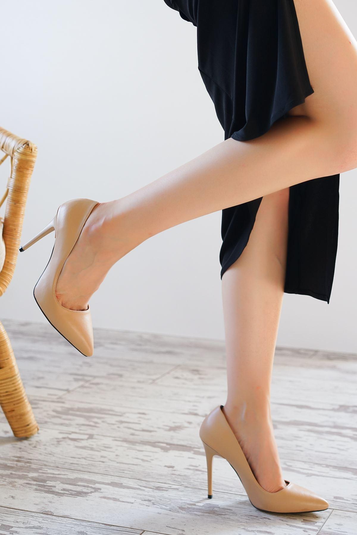 Ottone Nude Mat Deri Kadın Yüksek Topuklu Ayakkabı