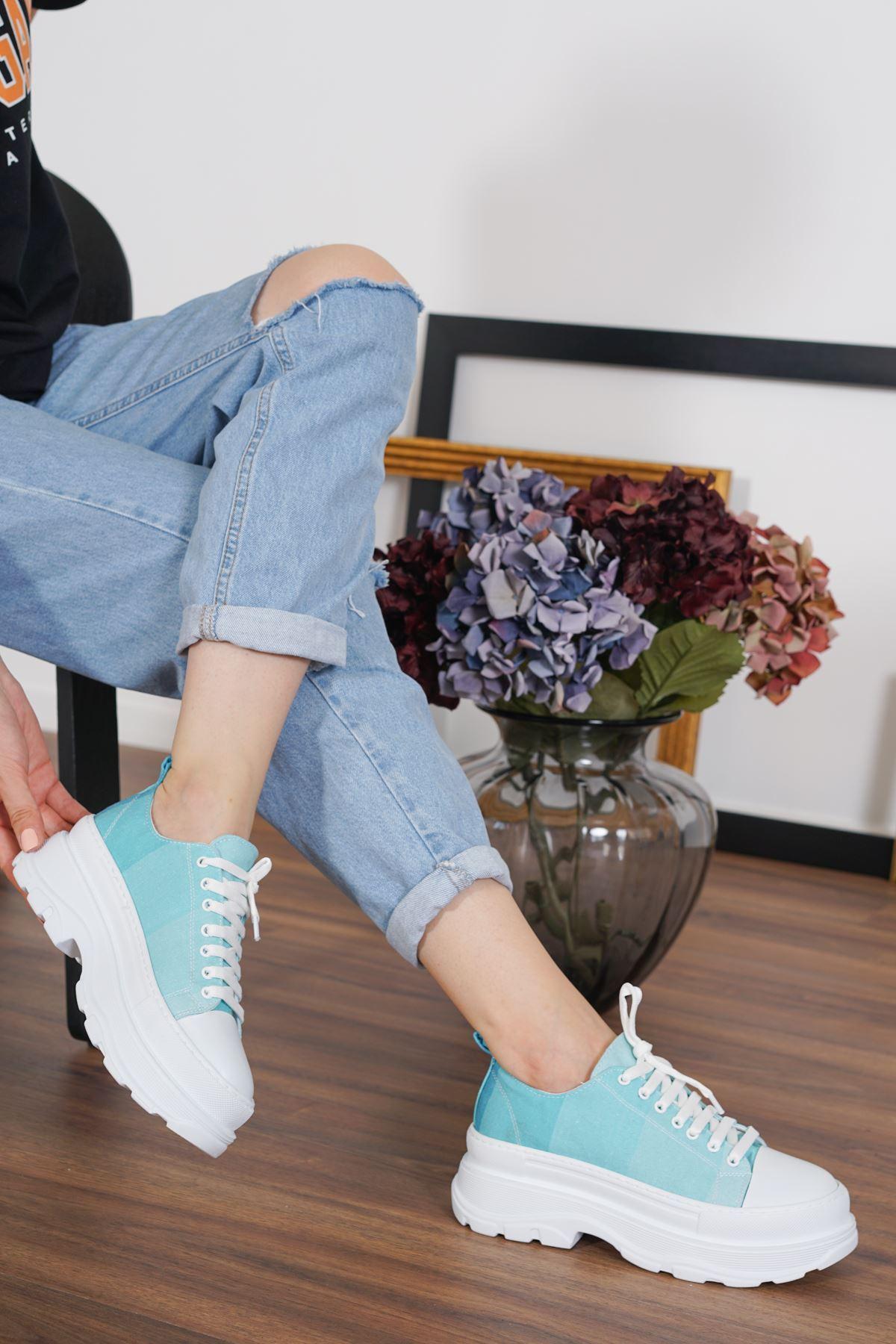 Dubai Yeşil Keten Bağcıklı Kadın Spor Ayakkabı