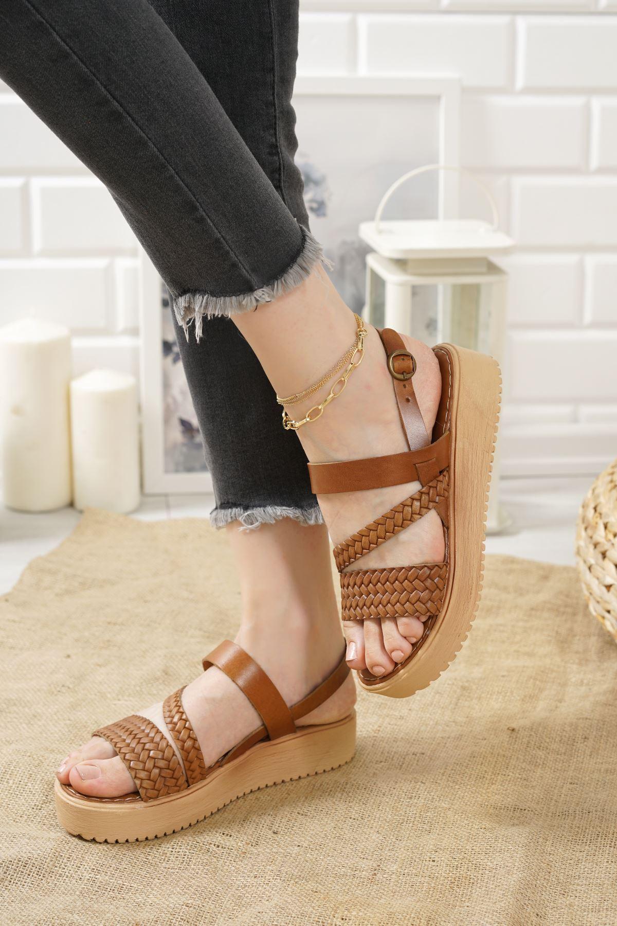Moreno Taba Hakiki Deri Kadın Sandalet