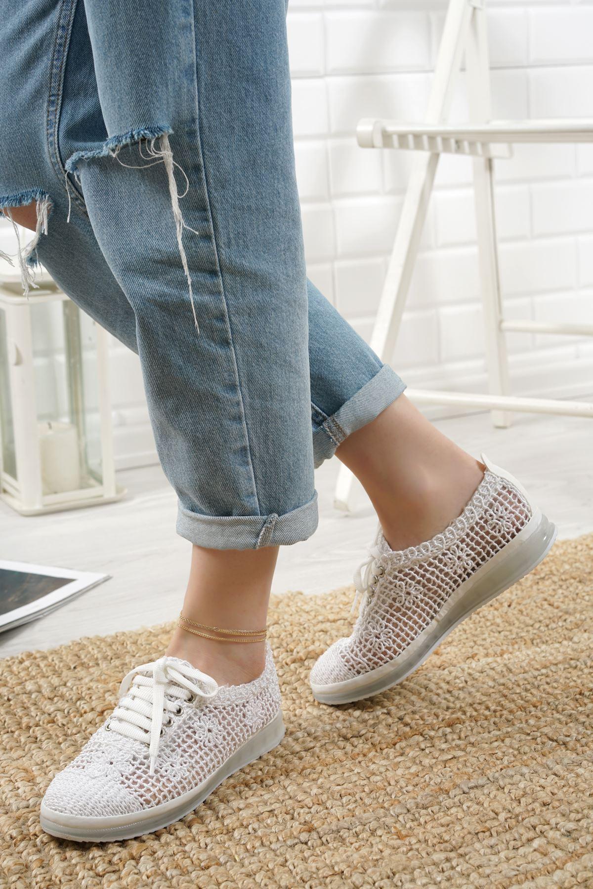 Danil Beyaz Dantel Kadın Spor Ayakkabı