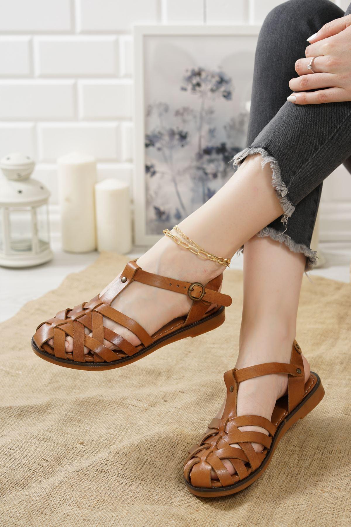Gitano Taba Hakiki Deri Kadın Sandalet
