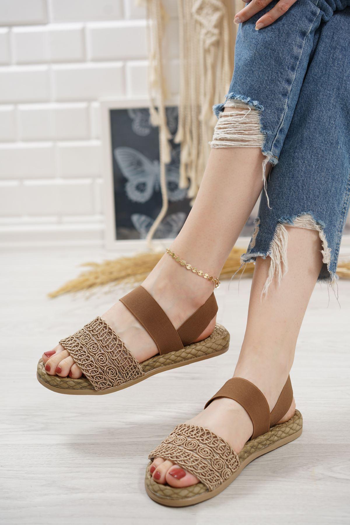 Carri Vizon Dantel Lastikli Kadın Sandalet