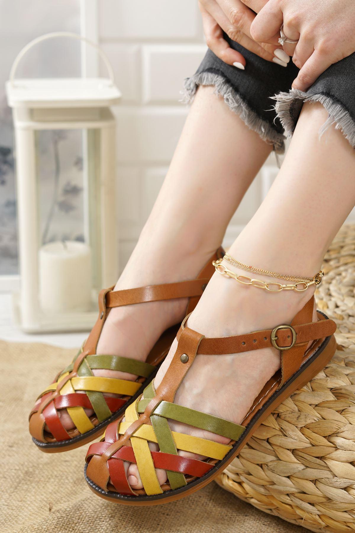 Gitano Renkli Hakiki Deri Kadın Sandalet