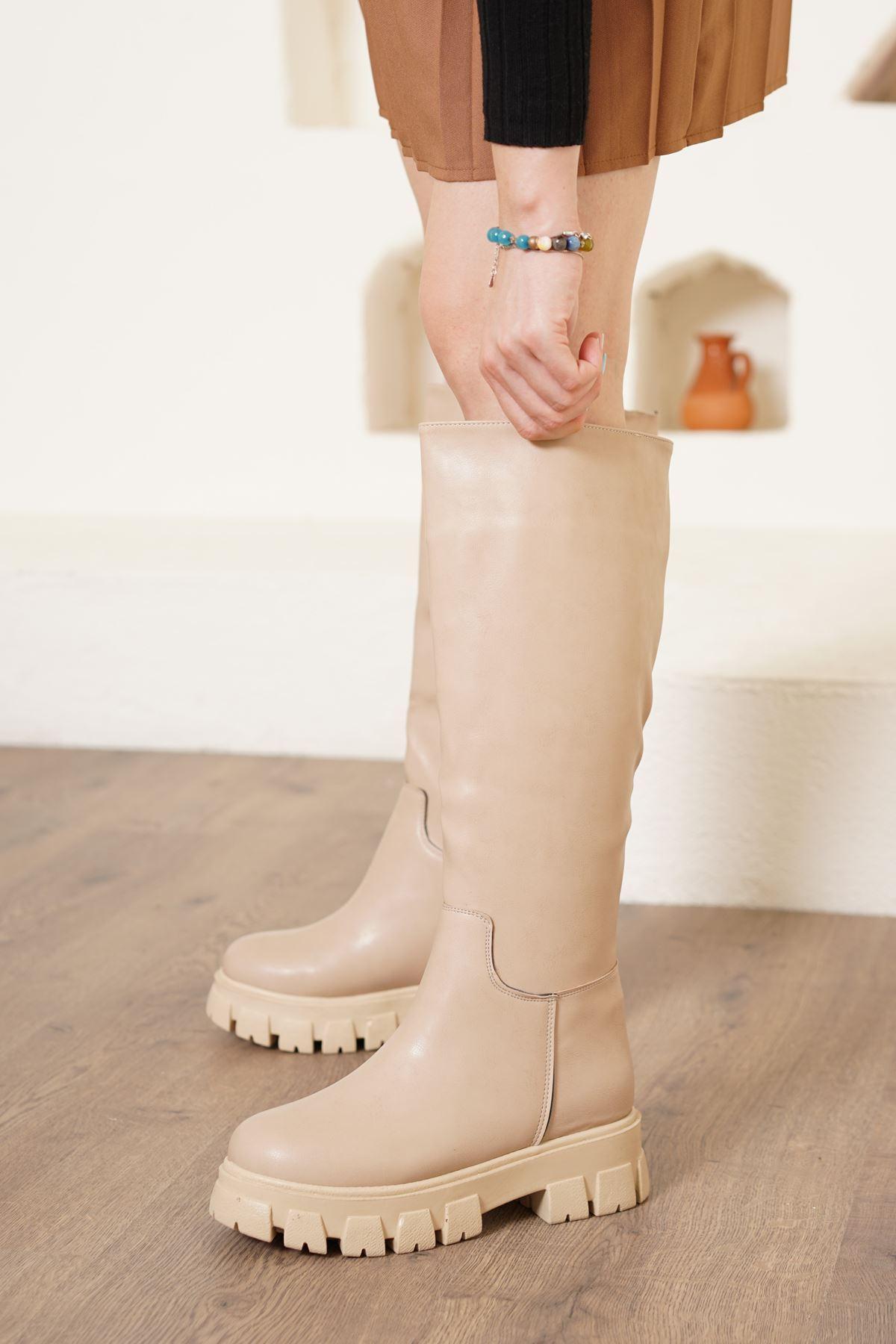 Vega Vizon Mat Deri Kadın Çizme