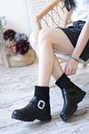 Sarah Siyah Mat Deri Çorap Kadın Bot